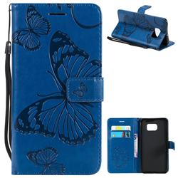 Embossing 3D Butterfly Leather Wallet Case for Samsung Galaxy S6 Edge Plus Edge+ G928 - Blue