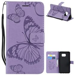 Embossing 3D Butterfly Leather Wallet Case for Samsung Galaxy S6 Edge Plus Edge+ G928 - Purple