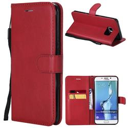 Retro Greek Classic Smooth PU Leather Wallet Phone Case for Samsung Galaxy S6 Edge Plus Edge+ G928 - Red