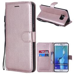 Retro Greek Classic Smooth PU Leather Wallet Phone Case for Samsung Galaxy S6 Edge Plus Edge+ G928 - Rose Gold