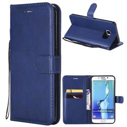 Retro Greek Classic Smooth PU Leather Wallet Phone Case for Samsung Galaxy S6 Edge Plus Edge+ G928 - Blue