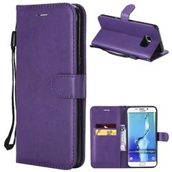 Retro Greek Classic Smooth PU Leather Wallet Phone Case for Samsung Galaxy S6 Edge Plus Edge+ G928 - Purple