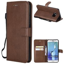 Retro Greek Classic Smooth PU Leather Wallet Phone Case for Samsung Galaxy S6 Edge Plus Edge+ G928 - Brown
