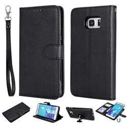Retro Greek Detachable Magnetic PU Leather Wallet Phone Case for Samsung Galaxy S6 Edge Plus Edge+ G928 - Black