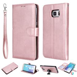 Retro Greek Detachable Magnetic PU Leather Wallet Phone Case for Samsung Galaxy S6 Edge Plus Edge+ G928 - Rose Gold