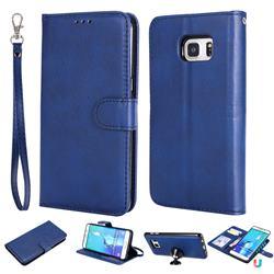 Retro Greek Detachable Magnetic PU Leather Wallet Phone Case for Samsung Galaxy S6 Edge Plus Edge+ G928 - Blue