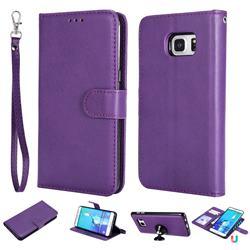 Retro Greek Detachable Magnetic PU Leather Wallet Phone Case for Samsung Galaxy S6 Edge Plus Edge+ G928 - Purple