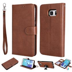 Retro Greek Detachable Magnetic PU Leather Wallet Phone Case for Samsung Galaxy S6 Edge Plus Edge+ G928 - Brown