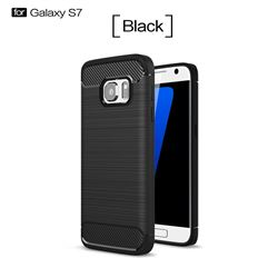 Luxury Carbon Fiber Brushed Wire Drawing Silicone TPU Back Cover for Samsung Galaxy S7 G930 (Black)
