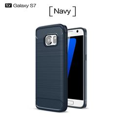 Luxury Carbon Fiber Brushed Wire Drawing Silicone TPU Back Cover for Samsung Galaxy S7 G930 (Navy)