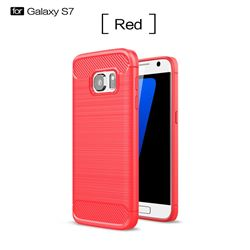 Luxury Carbon Fiber Brushed Wire Drawing Silicone TPU Back Cover for Samsung Galaxy S7 G930 (Red)