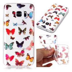 Colorful Butterfly Super Clear Soft TPU Back Cover for Samsung Galaxy S7 G930
