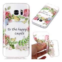 Green Leaf Rose Super Clear Soft TPU Back Cover for Samsung Galaxy S7 G930