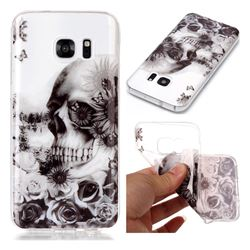 Black Flower Skull Super Clear Soft TPU Back Cover for Samsung Galaxy S7 G930