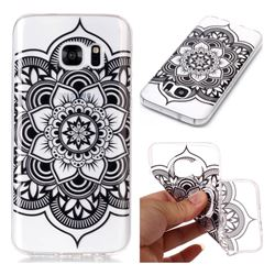 Black Mandala Flower Super Clear Soft TPU Back Cover for Samsung Galaxy S7 G930
