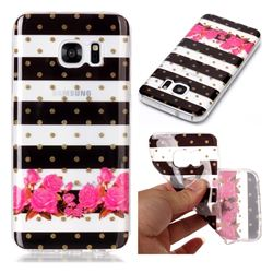 Striped Flowers Super Clear Soft TPU Back Cover for Samsung Galaxy S7 G930