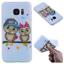 Couple Owls 3D Relief Matte Soft TPU Back Cover for Samsung Galaxy S7 G930