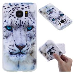 White Leopard 3D Relief Matte Soft TPU Back Cover for Samsung Galaxy S7 G930