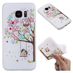 Tree and Girl 3D Relief Matte Soft TPU Back Cover for Samsung Galaxy S7 G930