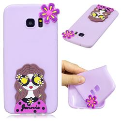 Violet Girl Soft 3D Silicone Case for Samsung Galaxy S7 G930