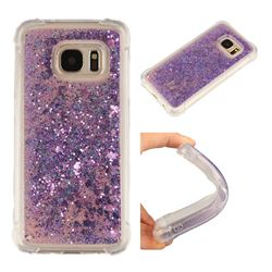 Dynamic Liquid Glitter Sand Quicksand Star TPU Case for Samsung Galaxy S7 G930 - Purple