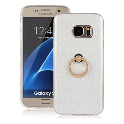 Luxury Soft TPU Glitter Back Ring Cover with 360 Rotate Finger Holder Buckle for Samsung Galaxy S7 G930 - White