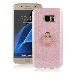 Luxury Soft TPU Glitter Back Ring Cover with 360 Rotate Finger Holder Buckle for Samsung Galaxy S7 G930 - Pink