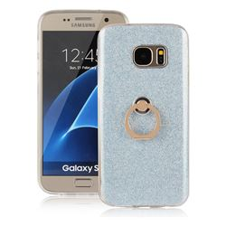 Luxury Soft TPU Glitter Back Ring Cover with 360 Rotate Finger Holder Buckle for Samsung Galaxy S7 G930 - Blue