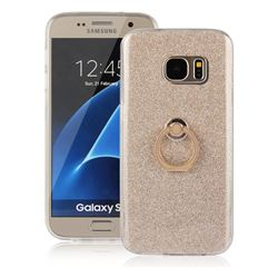 Luxury Soft TPU Glitter Back Ring Cover with 360 Rotate Finger Holder Buckle for Samsung Galaxy S7 G930 - Golden