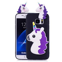 Unicorn Soft 3D Silicone Case for Samsung Galaxy S7 G930 - Black