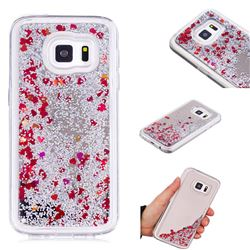 Glitter Sand Mirror Quicksand Dynamic Liquid Star TPU Case for Samsung Galaxy S7 G930 - Red