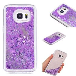 Glitter Sand Mirror Quicksand Dynamic Liquid Star TPU Case for Samsung Galaxy S7 G930 - Purple