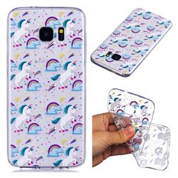 Rainbow Running Unicorn Super Clear Soft TPU Back Cover for Samsung Galaxy S7 G930