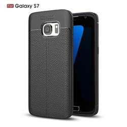 Luxury Auto Focus Litchi Texture Silicone TPU Back Cover for Samsung Galaxy S7 G930 - Black