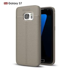 Luxury Auto Focus Litchi Texture Silicone TPU Back Cover for Samsung Galaxy S7 G930 - Gray