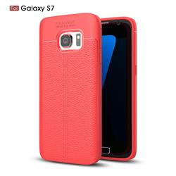 Luxury Auto Focus Litchi Texture Silicone TPU Back Cover for Samsung Galaxy S7 G930 - Red