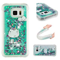 Tiny Unicorn Dynamic Liquid Glitter Sand Quicksand Star TPU Case for Samsung Galaxy S7 G930