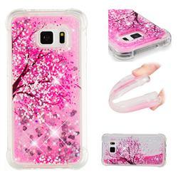 Pink Cherry Blossom Dynamic Liquid Glitter Sand Quicksand Star TPU Case for Samsung Galaxy S7 G930