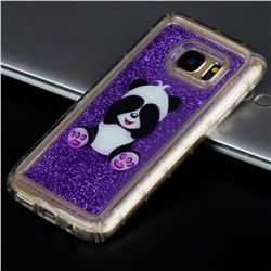 Naughty Panda Glassy Glitter Quicksand Dynamic Liquid Soft Phone Case for Samsung Galaxy S7 G930