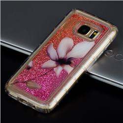 Lotus Glassy Glitter Quicksand Dynamic Liquid Soft Phone Case for Samsung Galaxy S7 G930