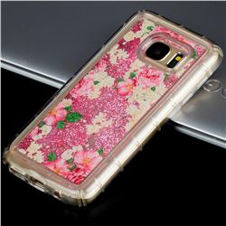 Rose Flower Glassy Glitter Quicksand Dynamic Liquid Soft Phone Case for Samsung Galaxy S7 G930