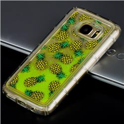Pineapple Glassy Glitter Quicksand Dynamic Liquid Soft Phone Case for Samsung Galaxy S7 G930