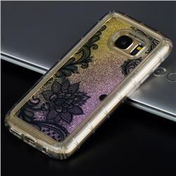 Diagonal Lace Glassy Glitter Quicksand Dynamic Liquid Soft Phone Case for Samsung Galaxy S7 G930