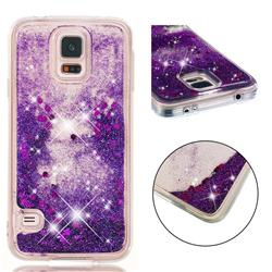 Dynamic Liquid Glitter Quicksand Sequins TPU Phone Case for Samsung Galaxy S7 G930 - Purple