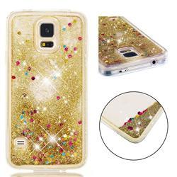 Dynamic Liquid Glitter Quicksand Sequins TPU Phone Case for Samsung Galaxy S7 G930 - Golden