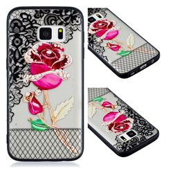 Rose Lace Diamond Flower Soft TPU Back Cover for Samsung Galaxy S7 G930