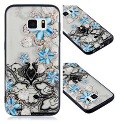 Lilac Lace Diamond Flower Soft TPU Back Cover for Samsung Galaxy S7 G930