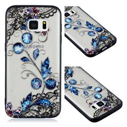 Butterfly Lace Diamond Flower Soft TPU Back Cover for Samsung Galaxy S7 G930