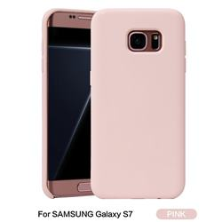Howmak Slim Liquid Silicone Rubber Shockproof Phone Case Cover for Samsung Galaxy S7 G930 - Pink