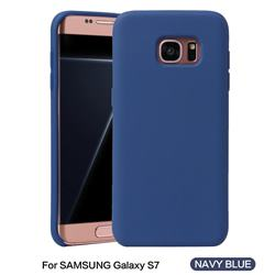 Howmak Slim Liquid Silicone Rubber Shockproof Phone Case Cover for Samsung Galaxy S7 G930 - Midnight Blue